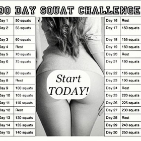 Complete a 30 Day Squat Challenge - Bucket List Ideas