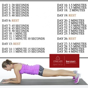 Complete a 30 day plank challenge - Bucket List Ideas