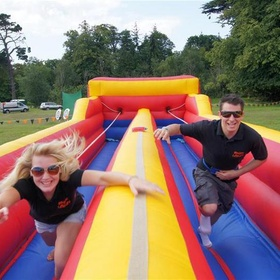 Do a Bungee Race/ Inflatable Bungee Run Challenge Game - Bucket List Ideas