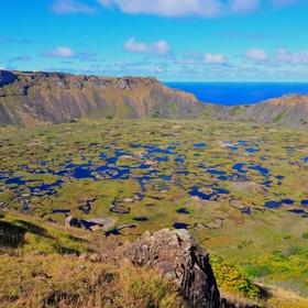 Visit the Ranu Kau volcanic crater on Easter Island - Bucket List Ideas