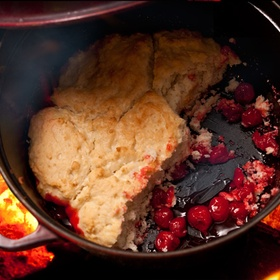 Learn to make cherry cobbler in a dutch over - Bucket List Ideas