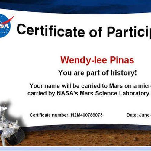 Send My Name to Mars - Bucket List Ideas