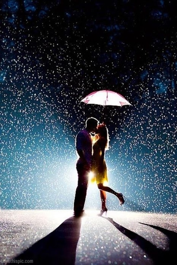 boy and girl kissing in the rain № 200401