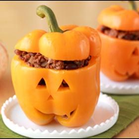 Make Jack-O-Lantern stuffed peppers - Bucket List Ideas