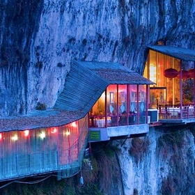 Eat at the restaurant near Sanyou Cave above the Chang Jiang river, Hubei , China - Bucket List Ideas