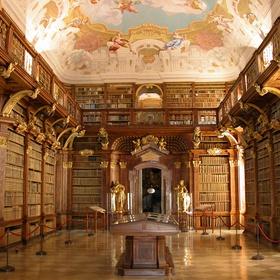 Visit Melk Abbey Library above the town of Melk, Austria, - Bucket List Ideas