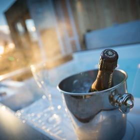 Hot tub at ski resort with champagne - Bucket List Ideas
