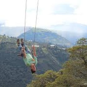Ride the swing, Casa Del Arbol, in Banos Ecuador - Bucket List Ideas