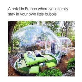One night in a bubble Hotel France - Bucket List Ideas