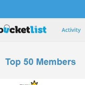 Be on the top 50 leaderboard for Bucketlist - Bucket List Ideas