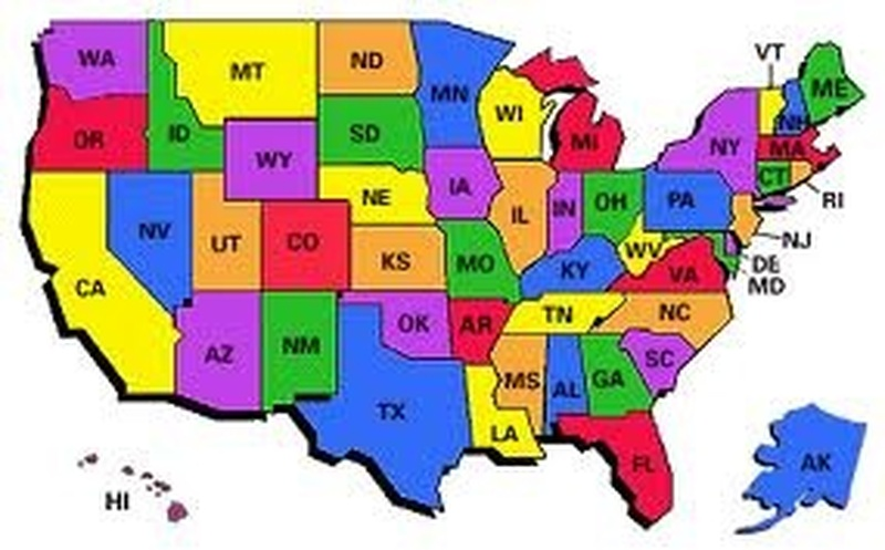 The Fifty States Map.Bucketlist Visit All 50 States Official Bucket List