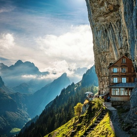 🍴 Eat at Äscher Cliff Restaurant (Berggasthaus Aescher-Wildkirchli), Switzerland - Bucket List Ideas